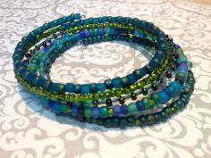 Layered Beaded Wrap Memory Wire Bangle by KimberlysCraftini, $17.00  SOLD thank you Grace A