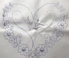 Do not put the swan heads in just continue with flowers around to make a heart. Hand Embroidery Videos, Embroidery Hearts, Hand Embroidery Patterns, Ribbon Embroidery, Embroidery Stitches, Border Embroidery Designs, Pencil Design, Art Drawings For Kids, Fabric Painting