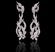 Fire of London couture earrings in white gold and diamonds Earrings Jewellery Garrard