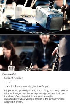 the avengers, tony stark, and pepper potts image Funny Marvel Memes, Dc Memes, Marvel Jokes, Avengers Memes, Marvel Dc Comics, Marvel Avengers, Marvel Cinematic Universe, Marvel Universe, Tony And Pepper