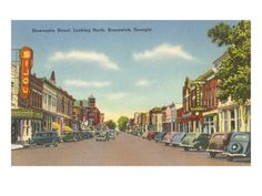 Newcastle Street, Brunswick, Georgia Premium Poster