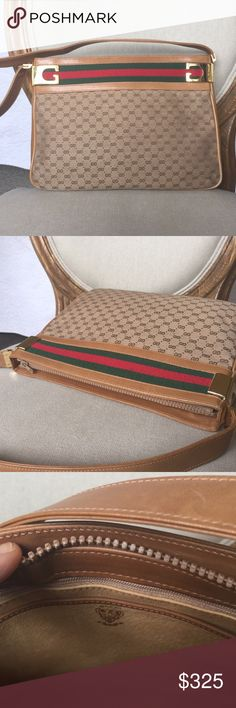 Gucci vintage beige leather bag EXCELLENT! Gucci leather and canvas handbag in excellent condition with complete leather lining. One zippered pocket. Mint! Gucci Bags Shoulder Bags