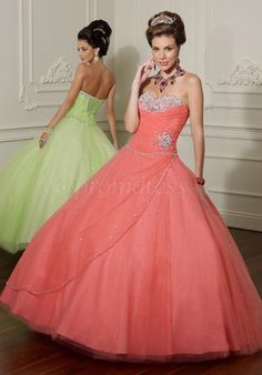 Tulle Beaded Ball Gown Embroidery Lace-up Back Quinceanera Dress - Gopromdress.co.uk