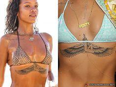 Rihanna's Tattoos & Meanings Tattoo Rihanna, Rhianna Tattoos, Dope Tattoos, Tatoos, Egyptian Goddess Tattoo, Isis Goddess, Chest Tattoo Egyptian, Cleopatra Tattoo, Bauch Tattoos