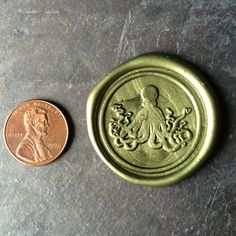 Moss green extra-large octopus Wax seal sticker  on Etsy, $21.99