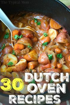 Here are 30 easy dutch oven recipes you can use at home or when you're camping. From dinners to bread and dutch oven desserts too you will find a variety of simple and easy to put together meals here you can cook in your cast iron dutch oven. I love this thing! #dutchoven #chicken #dinner #recipes #easy