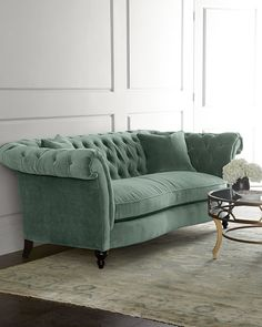 Jadelyn Tufted Sofa at Horchow. Rolled arms, tufting, and a slightly serpentine front rail make this sofa a welcome addition to living spaces. Tufted Couch, Sectional Sofa, Chaise Sofa, Sofa Upholstery, Chesterfield Sofa, Sofa Furniture, Shabby Chic Furniture, Living Room Furniture, Furniture Design