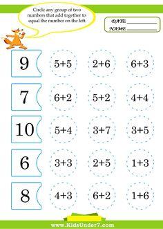 Kids Under 7: Math