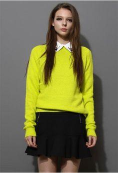Neon Green Classic Wool Sweater