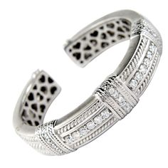 JUDITH RIPKA Diamond White Gold Bangle. Estate
