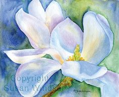 Magnolia Watercolor Painting Giclee Print 8 x 10