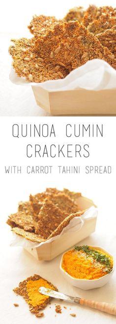 Quinoa cumin crackers with carrot tahini spread (vegan, gluten free)