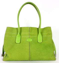 Tod S Lime Green Suede Pebbled Leather Large D Bag Tote Ebay