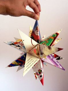 Make a star with Recycled cards