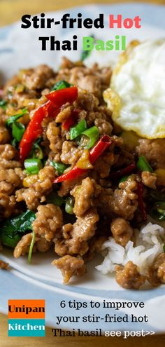thai recipes Enjoy your STIR-FRIED THAI BASIL with 6 tips to improve your Thai stir-frying dishes. A REAL authentic hot Thai basil over rice recipe Pork Recipes, Chicken Recipes, Cooking Recipes, Healthy Recipes, Stir Fry Recipes, Recipies, Thai Cooking, Asian Cooking, Thai Dishes