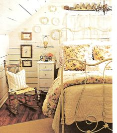 yellow bedroom, white painted wood walls