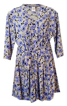 Delta Burke Blue Floral Chemise Nightgown and Robe Set 2 Fits 16W18 Grey with Blue Floral ** Visit the image link more details.