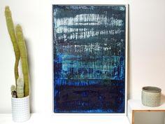 """Acrylmalerei - Abstrakte Kunst Titel """"BLUE MOON"""" 60cm x 90cm - ein Designerstück von simeART bei DaWanda"""