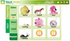 Free Irish language learning materials - audio files, flash cards, images and text. Irish Games, Irish Language, 5th Class, Irish People, County Cork, Luck Of The Irish, Whistles, Free Games, Teaching Resources