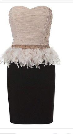 bdb44345c5f Lipsy Bandeau/Bodycon Dress Feathered Peplum Beaded Waist New Size 10