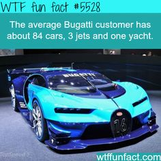 "Bugatti's ""average"" customers each have about 84 cars, 3 jets, & 1 yacht! - (It would a FUN Fact, if I owned one too!)  ~WTF! facts"