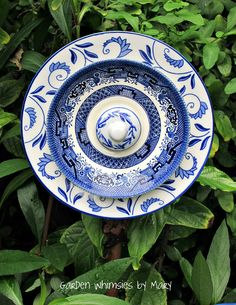 Plate Flower Garden Stake Blue and White  by GardenWhimsiesByMary, $30.00