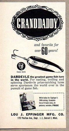 1960 Print Ad Dardevle Grandaddy Spoon Fishing Lures Lou Eppinger Detroit,MI #MagazineAd