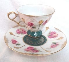 L M ROYAL HALSEY Very Fine China Saucer 3 MAIDENS and
