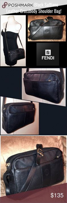 """Vintage FENDI Black Leather Crossbody Shoulder Bag Vintage FENDI Black Saffiano Leather Crossbody Shoulder Bag! Features: 100% authentic, black saffiano leather, 80's piece, cross-body/shoulder style, 1 int zip pocket, adjustable black leather strap, """"FF FENDI ROMA ITALY 1925"""" round stamp on front, gold FENDI plate & serial no on inside, black lining, FENDI interior plate & zipper pulls. 10"""" across X 6 1/2"""" high X 2 1/2"""" wide with up to 20 1/2"""" shoulder clearance. Some minor marks on the…"""