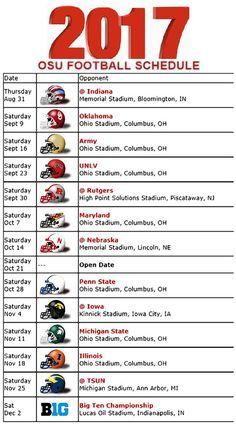 Printable Ohio State Buckeyes Football Schedule Ohio