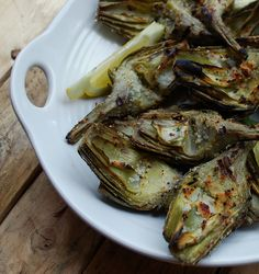 Grilled Artichokes with Garlic and Romano Cheese.