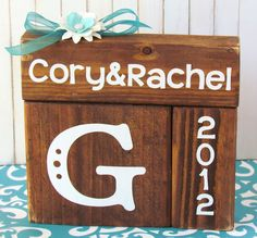 Wedding blocks for the bride and groom. Great bridal shower gift!