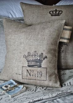 crown burlap pillow - who doesn't like crowns and numbers?