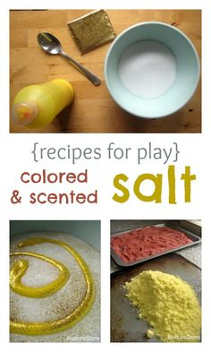 Great recipe for play: how to make your own coloured and scented salt. Great for sensory play, art, multi-sensory learning.