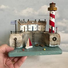 """Shabby Daisies (@lorainespick) on Instagram: """"Safe harbour. Lighthouse is a 1930's industrial spool, from a mill in West Yorkshire.…"""""""
