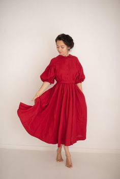 Meg Dress in Red with short sleeves, Linen Dress – Linen Dresses Lino Natural, Natural Linen, Vestidos Vintage, Vintage Dresses, White Linen Dresses, Civil War Dress, Mid Length Skirts, Full Circle Skirts, Dress Cuts