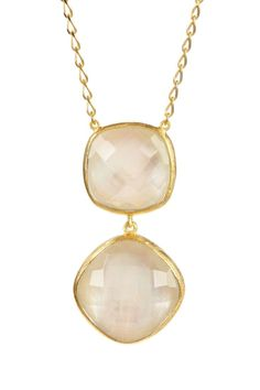 Candela Jewelry White Mother of Pearl Quartz Doublet Drop Necklace