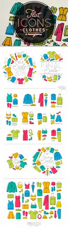 Flat clothes icons by Anna on @creativemarket