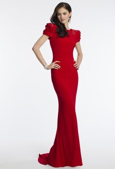 Camille La Vie Rosette Shoulder Prom Dress. So sleek and red carpet ready!
