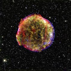 The Tycho supernova remnant as can now be seen more than four centuries after the brilliant star explosion witnessed by Tycho Brahe and other astronomers of that era.