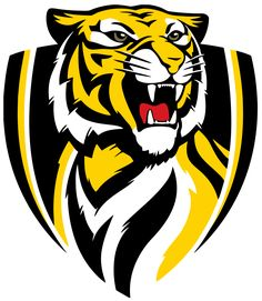 """Our AFL footy team that we are members of. Love going to the footy and sitting with the cheer squad. Love checking out the """"Tiger Den"""" supporter superstore. C'arn the mighty tigers! Richmond Afl, Richmond Football Club, Benfica Wallpaper, Tiger Team, Team Logo Design, Mascot Design, Australian Football, Soccer Logo, Tiger Logo"""