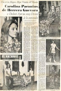 Entrevista realizada a Carolina Pacanins de Herrera. Publicada en El Nacional el 8 de enero de 1972