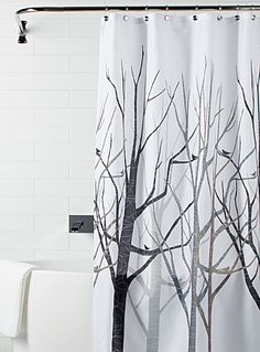 Gray world map shower curtain gray and white wanderlust a trendy naturalistic pattern with leafless trees in modern lines and silhouettes of perched birds gumiabroncs Gallery