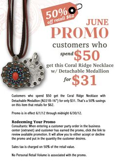 Our June customer promotion features the Coral Ridge Necklace with Detachable Medallion. Contact your consultant today to get this promotion, or visit www.faithco.net and locate a consultant near you!