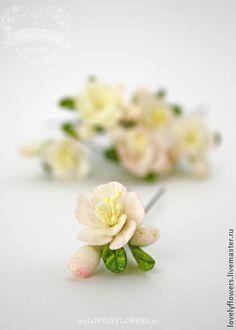 Цветы для прически на шпильках - цветы ручной работы,цветы из полимерной глины