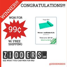 #Congratulations realBidder4Life for winning this #yoga Mat for only 99¢! Want to #win your own? Check out www.zidders.com #zidderswinners  See all of our items for 99¢ w/ #FREE shipping!
