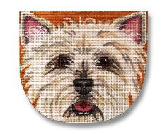This is a needlepoint purse canvas (unfinished) depicting a Westie. The source is: https://www.etsy.com/listing/82967766/needlepoint-dog-canvas-west-highland?ref=market