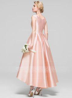 A-Line/Princess Scoop Neck Asymmetrical Satin Cocktail Dress - Cocktail Dresses - JJ's House Gala Dresses, 50s Dresses, Lovely Dresses, Evening Dresses, Cosplay Outfits, Dress Outfits, Fashion Dresses, Satin Bridesmaid Dresses, Satin Dresses