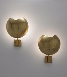 Paavo Tynell; Brass Wall Lights for Taito Oy, 1950s.