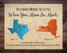 Gift for Friends, Christmas Gift for friends, Long Distance Friendship Map, Friends moving away, Housewarming Gift, Moving Away, Distance